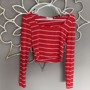 Lulu's Red and White Striped Crop Top